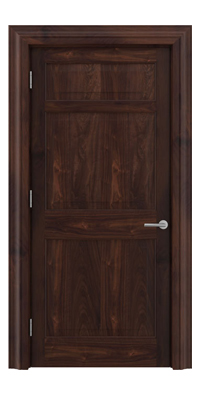 Shadbolt Timeless Type12 hardwood panelled door in American black walnut veneer