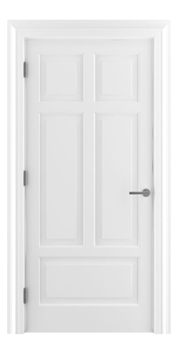 Shadbolt Timeless Type13 hardwood panelled door in RAL 9010 paint finish