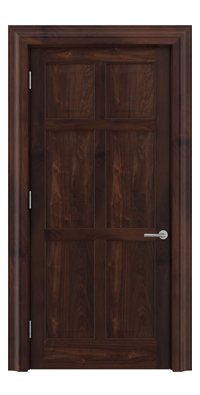 Shadbolt Timeless Type14 hardwood panelled door in American black walnut veneer