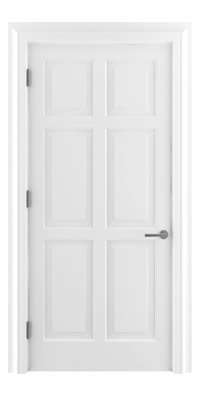 Shadbolt Timeless Type14 hardwood panelled door in RAL 9010 paint finish