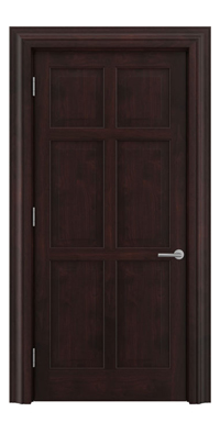 Shadbolt Timeless Type16 hardwood panelled door in American black walnut veneer with dark stain finish