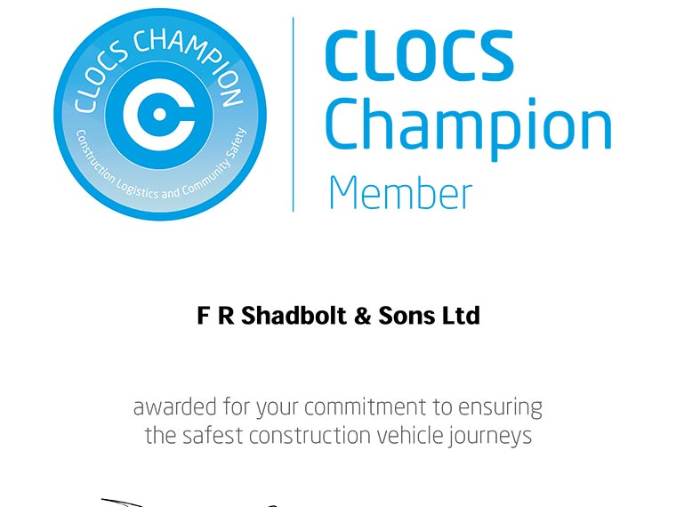 Shadbolt awarded CLOCS Champion status